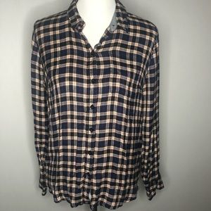 Lucky Brand Plaid High Low Button Down